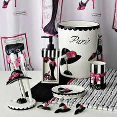 La Femme Chic Bath Accessories These Coordinates Are Tres Sophisticated And Stylish They Ll Add A Parisian Look To Your Bathroom Decor