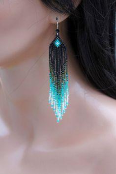 Long Seed Bead Earrings - Beaded Teal Earrings - Ombre - Fringe Earrings - Black & Green Dangle Earrings