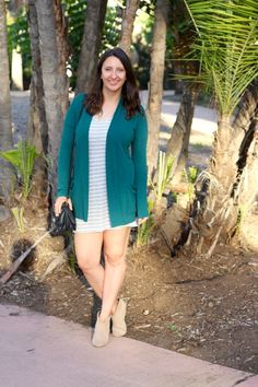 LunaVida: Spring It On | Cardigan + T-Shirt Dress + Ankle Boots [& oNecklace Giveaway!]