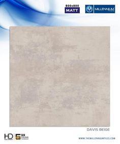 """Millennium Tiles 800x800mm (32x32) Vitrified Matt Porcelain XL Tiles Series """"Davis Beige"""""""