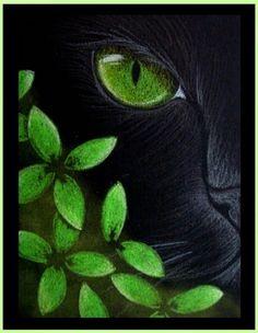 Art: Black Cat - Green Flowers by Artist Cyra R. Cancel