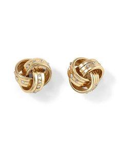White House | Black Market Goldtone Crystal Love Knot Earring #whbm