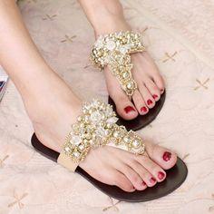 A New arrival eva fashion flip flops female shoes luxury rhinestone beads flip-flop slippers flat shoes ladies' beach flip flops $59.00