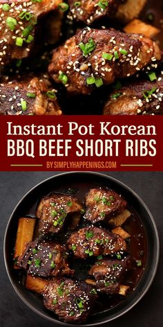 Tender, fall-off-the-bone Korean BBQ short ribs sauteed and pressure cooked with a rich Korean marinade topped with toasted sesame seeds and green onions. Korean Beef Short Ribs, Bbq Short Ribs, Asian Beef, Korean Chicken, Best Instant Pot Recipe, Instant Pot Dinner Recipes, Instant Pot Short Ribs Recipe, Beef Back Ribs, Beef Ribs Recipe