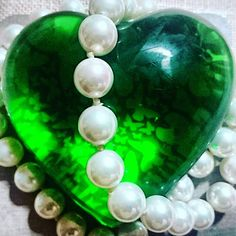 Green heart.  #green #heart #butterfly #pearls