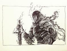 Dark Souls,фэндомы,The Ash Knight,art,арт Dark Fantasy, Medieval Fantasy, Fantasy Art, Art Sketches, Art Drawings, Arte Dark Souls, Wie Zeichnet Man Manga, Knight Art, Arte Sketchbook