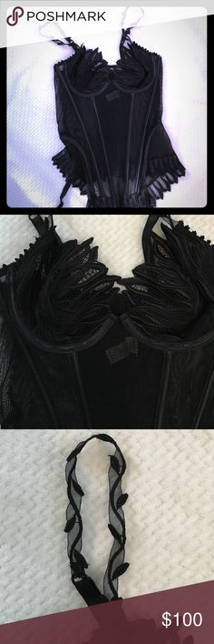 Flash Lingerie Black Flapi Corset Set NWT Sheer mesh black Ravage corset set from Flash Lingerie. I know Ravage is a French company. Underwire cups have beautiful leaf (?) detail and their are embroidered leaves and vines on the sheer straps. Covered boning in the front and hook and eye closure up the back. Beautiful matching detail around the bottom as well. New with tags. US size small, Euro size 40, France size 2 Ravage Intimates & Sleepwear Bras