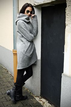 Hooded Coat/Extravagant Grey Coat/Zip Hooded Coat / by MIAatelier