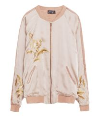 Embroidered pink Bomber Jacket by Zara featured at www.thefanzynet.com