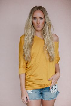 Off the Shoulder Long Sleeved Dolman in Mustard from Gypsy Outfitters - Boho Luxe Boutique $30