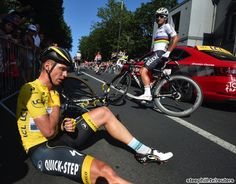 2015 Tour de France stage 6 Race leader, Tony Martin (Etixx-Quick Step) touched wheels and went down hard.