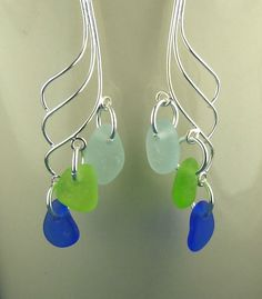 GENUINE Sea Glass Earrings Sterling Silver