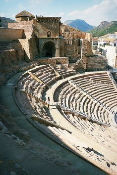 The Roman Theatre of Cartagena in Spain. Ancient Ruins, Ancient Rome, Alicante, Places Around The World, Around The Worlds, Cartagena Spain, Roman Architecture, Spain And Portugal, Spain Travel