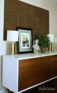 refurnishing an original midcentury modern dresser and using it as a dining room credenza