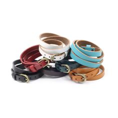Genuine leather triple wrap bracelet.. This bracelet wraps three times around your wrist for an awesome layered look. Adjustable buckle closure at the end for a modern urban feel in beautiful colors.