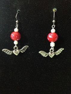 Pink Speckled Red and White Winged Heart Earrings by queenofqeeks, $8.00