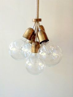 Handmade Pendant Light Chandelier Edison Restoration Industrial style Globes Fabric cables EGST $150 // bathrooms