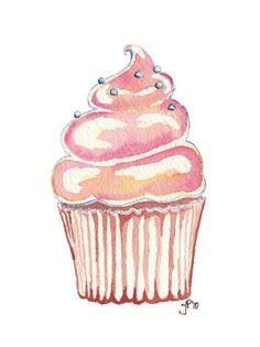 Watercolor Painting Illustration  Pink Cupcake.