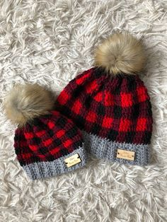 8157e7fda78 Mommy And Me Crochet Buffalo Plaid Hat