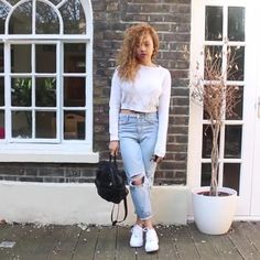 @beautycrush Topshop jeans, ASOS jumper, Nike Airs Force 1s and black backpack from Rokit