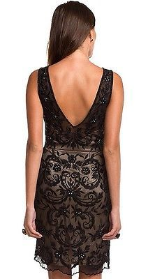 SUE WONG Black Nude Beaded Embroidered Evening Cocktail Party Dress 6 NEW