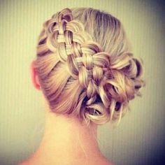 5 strand braid into messy bun♡