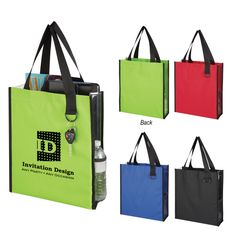 """Give your clients a sneak peek of what your company has to offer with this practical handout! Measuring 14"""" W x 15 1/4"""" H x 4 1/2"""" D, this Sneak Peek Tote Bag is made from a combination of 600 denier polyester and vinyl.  It has reinforced 22"""" handles, clear side panels, two side mesh pockets and a ring attachment for keys and more. Choose from several different colors and add an imprint of your company logo for brand awareness! This product meet..."""