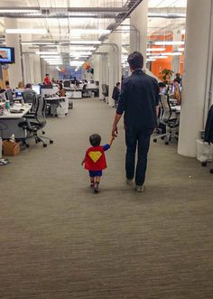 Superman and his Dad came to visit Mom at work today. #Superman