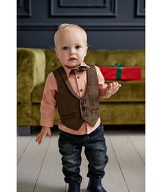 Smart Shirt, Bowtie and Waistcoat Set. Dress up dapper little ones in our smart three piece set, featuring a check shirt, Velcro-fastening bowtie and stylish tweed waistcoat that are perfect for parties.