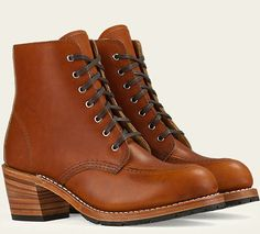 """The Clara lace up ankle boot from Red Wing embraces comfort and durability without compromising on style. Inspired by Red Wing's first boot for women, the Clara is the modern variation of the classic moc toe boot. Made with oil tanned soft brown leather from the Red Wing tannery and features 7 eyelet old school character with waxed flat laces. The 2"""" leather stacked heel combined with a low profile lug sole makes this boot feminine yet practical."""