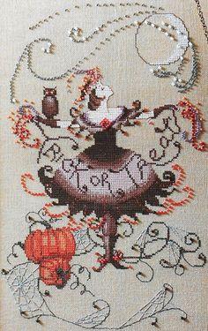 Nora Corbett Halloween Fairy, chart (not mine) sold on Etsy. Christmas Embroidery Patterns, Halloween Embroidery, Halloween Cross Stitches, Counted Cross Stitch Patterns, Cross Stitch Designs, Cross Stitch Embroidery, Halloween Fairy, Cross Stitching, Needlework