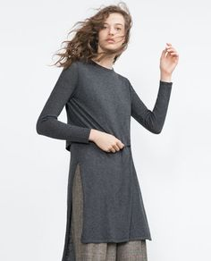 Image 2 of TUNIC DRESS from Zara Street Look, Zara Women, Knitwear, Cold Shoulder Dress, Tunic Tops, Chill, Sweaters, Lounge, Van