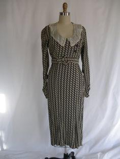 1930s geometric rayon dress