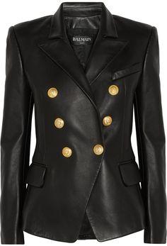 Balmain Double-Breasted Leather Blazer      <>   @kimludcom