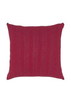 India's Heritage Cable Knit Pillow, Red, 20