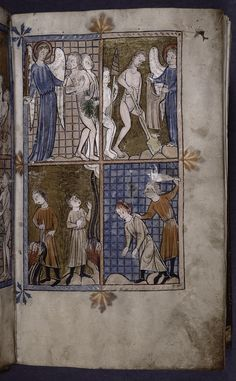 Full page miniature with four scenes: Expulsion of Adam and Eve; Adam and Eve laboring outside the Garden; Cain and Abe... (ca. 1320)