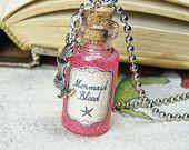 Mermaid Blood 2ml Glass Bottle Necklace - Cork Vial Charm - Ocea Sea Creature