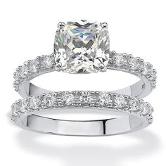 PalmBeach Platinum over Sterling Silver 2.45ct TW Princess-Cut Cubic Zirconia Bridal Ring Set