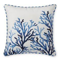 Outdoor Reversible Coral and Stripe Pillow, Navy #williamssonoma