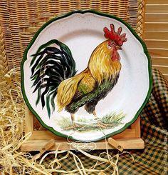 "Купить Роспись тарелок ""Петух - боец"". - тарелка, тарелка на стену, фарфор, фарфоровая тарелка"