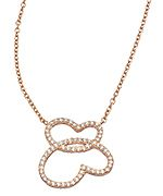 Genevive by CZC Rose Gold and CZ Micro Pave Double Heart Pendant Necklace
