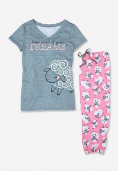 Sleepy Sheep Dreams Pajama Set (original price, $26.90) available at #Justice