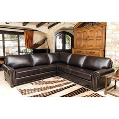 Delmar Top Grain Leather Sectional 109  x 109  ...  sc 1 st  Pinterest : nouveau top grain leather sectional - Sectionals, Sofas & Couches