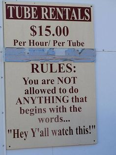 Rules when floating down the river!