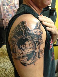 semper fidelis tattoos – Tattoo Tips Army Tattoos, Warrior Tattoos, Military Tattoos, 3d Tattoos, Badass Tattoos, Black And Grey Tattoos, Body Art Tattoos, Amazing Tattoos, Tattoo Black