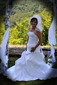 Here's OuterInner.com bride Michelle Seal from Rogersville Tennessee, who chose her wedding gown from us! Thanks Michelle - you looked amazing! Read her comments & see more pictures here: http://www.outerinner.com/blog/2013/07/08/customer-review-wedding-dress/  If you love her wedding gown and want to order one for yourself then do so here: http://www.outerinner.com/scalloped-neckline-dropped-waist-wedding-gown-with-applique-details-pd-08929-0.html?k=08929 #wedding #weddinggown #outerinner