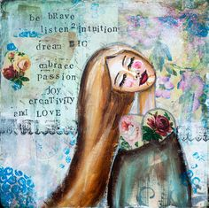 Be Brave Mixed media paintings with motivational by LadyArtTalk