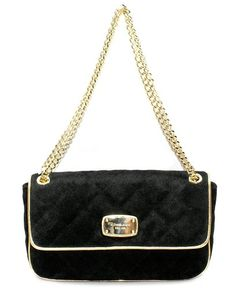 Michael Kors Fulton Quilted Flap Shoulder Bag Handbag Black