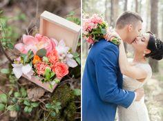 флористическая подушечка для колец и букет невесты на лесной свадьбе Ксении и Антона