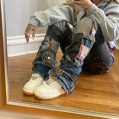 Cute Outfits For School, Cool Outfits, Casual Outfits, Baggy Clothes, Denim Outfit, Fashion Killa, Streetwear Fashion, Sweater Weather, Swagg